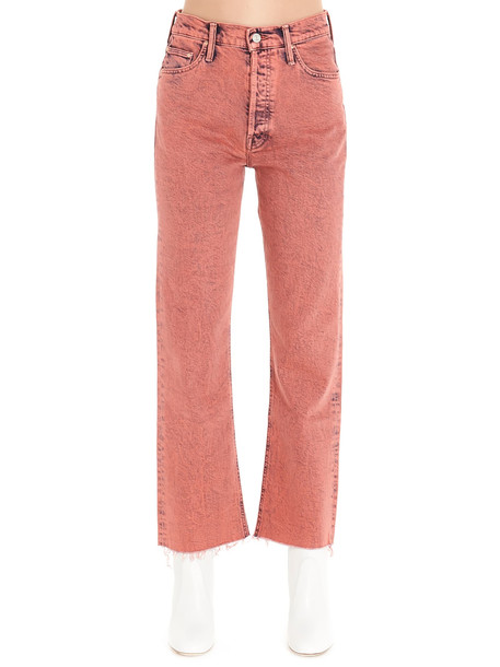 Mother tripped Crop Fray Jeans in red