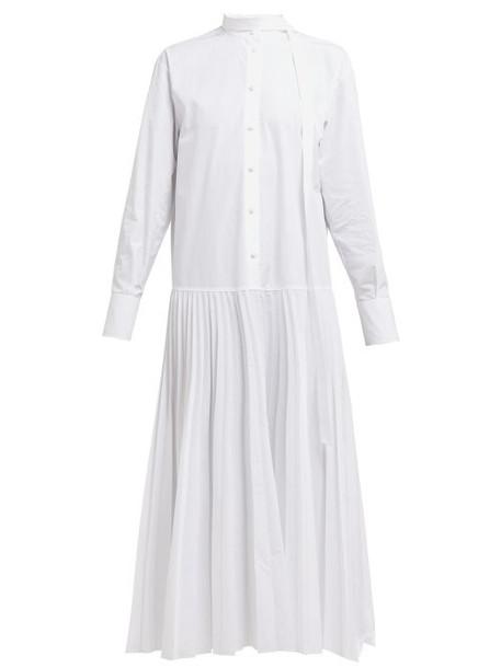 Valentino - Pleated Cotton Poplin Shirtdress - Womens - White