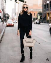 sweater,turtleneck sweater,black sweater,black boots,heel boots,black skinny jeans,shoulder bag,sunglasses