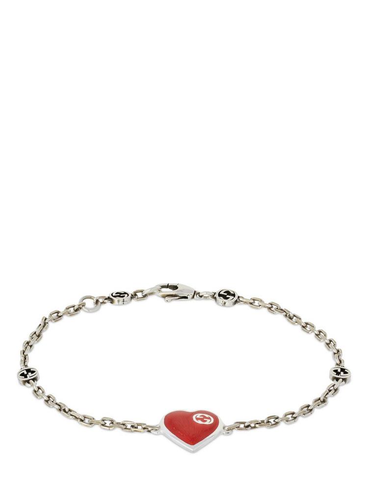 Gucci Heart Bracelet W/ Interlocking G in red / silver