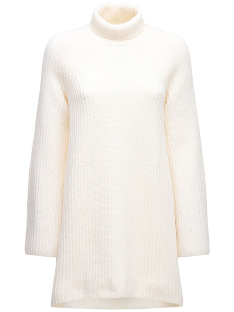 THE ROW Wool Ribbed Knit Turtleneck Sweater in ivory