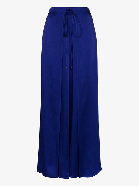 Rosetta Getty fold over tie front palazzo trousers in blue