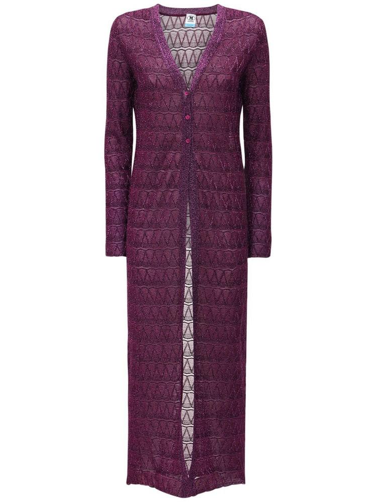 M MISSONI Lurex Knit Long Cardigan in purple