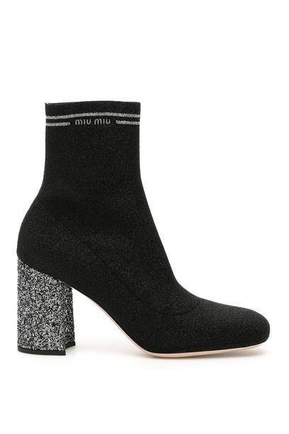 Miu Miu Glitter Sock Booties in black