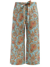 cropped,light,print,blue,silk,light blue,paisley,pants