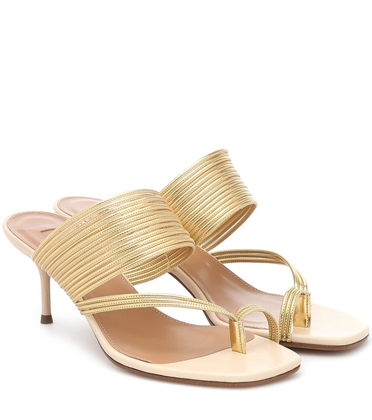Aquazzura Sunny 60 leather-trimmed sandals in gold