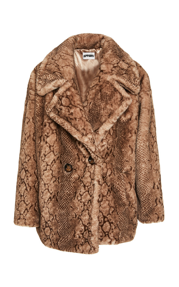 Apparis Cecile Python Mid Length Coat in neutral