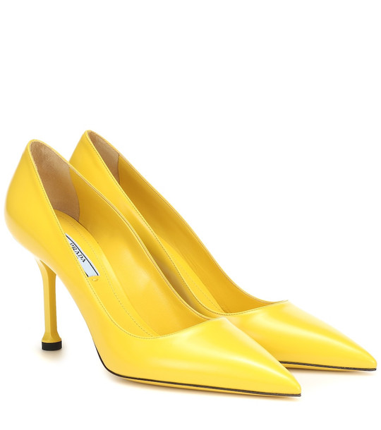Prada Leather pumps in yellow
