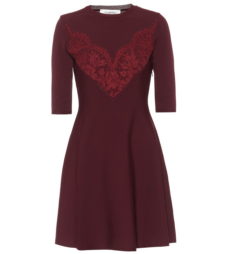 Valentino Lace-trimmed knit minidress in red