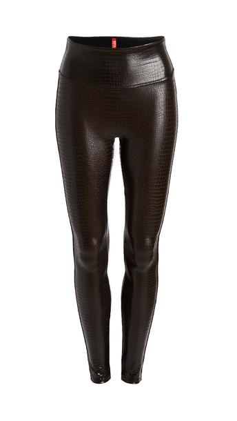 SPANX Faux Leather Croc Leggings in black / brown