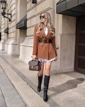 jacket,blazer,double breasted,black boots,knee high boots,louis vuitton bag,white dress,shirt dress