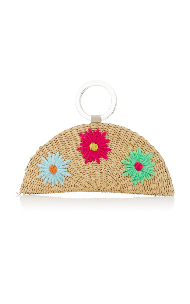 Poolside Croissant Floral-Embroidered Straw Bag in multi