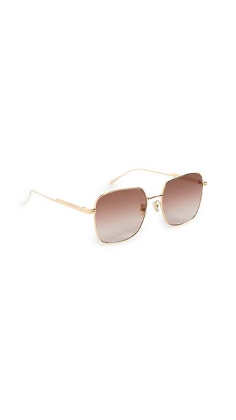Bottega Veneta Full Metal Squared Sunglasses in brown / gold