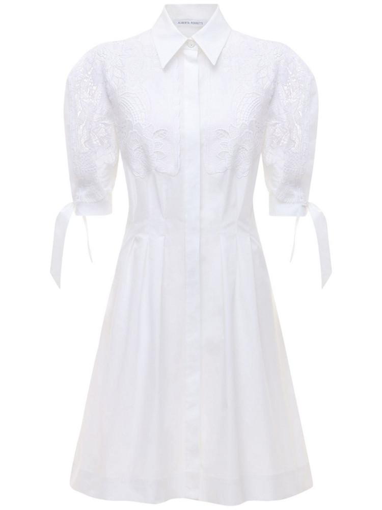 ALBERTA FERRETTI Stretch Poplin Shirt Dress W/ Macramé in white