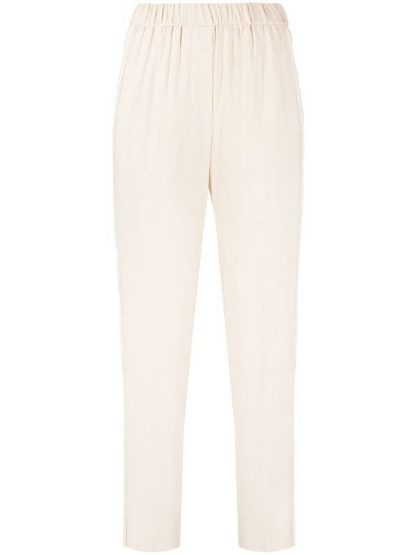 Peserico side slit slim-fit trousers in neutrals
