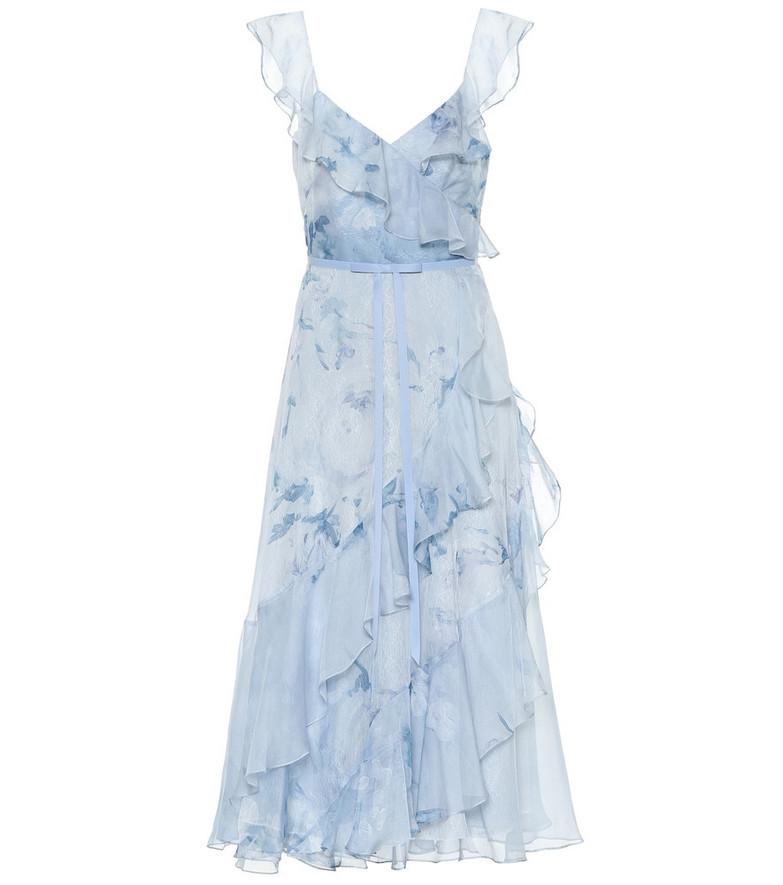 Marchesa Notte Floral chiffon dress in blue