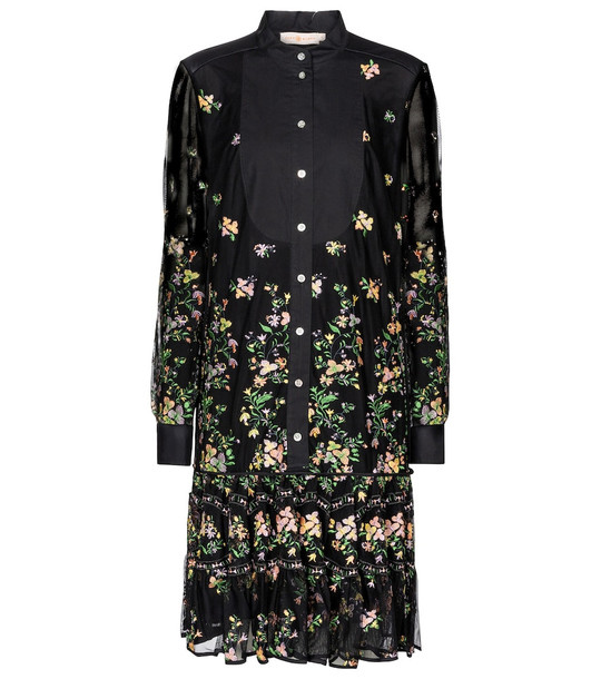 Tory Burch Embroidered midi dress in black
