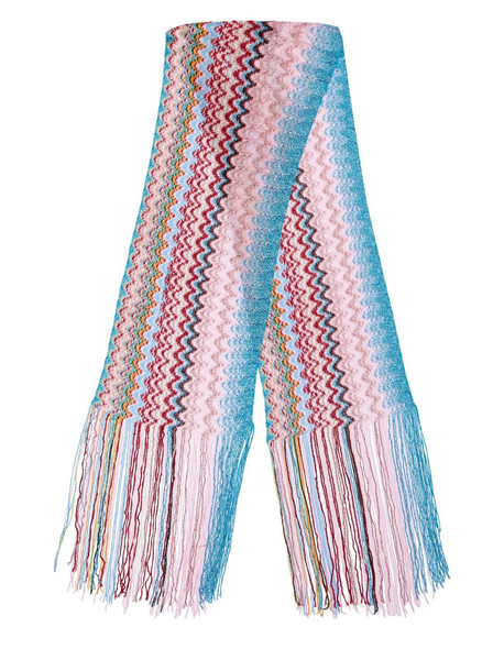 MISSONI Fringed Multicolor Knit Mini Scarf in pink / multi