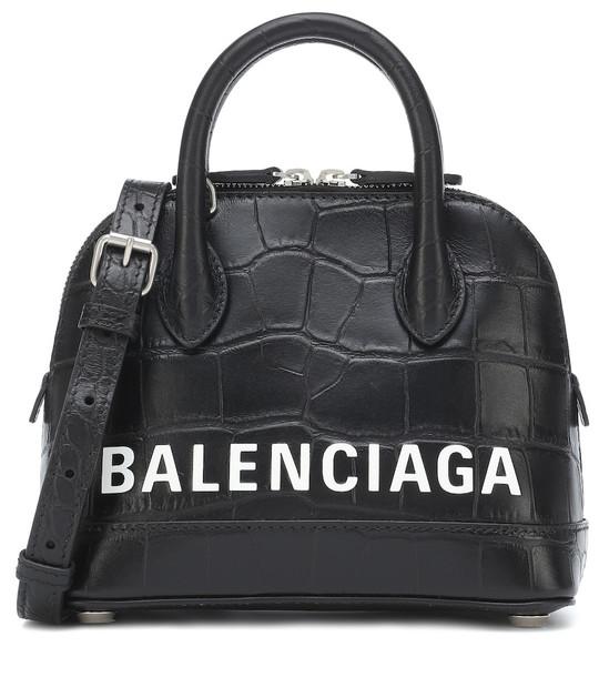 Balenciaga Ville S croc-effect leather tote in black