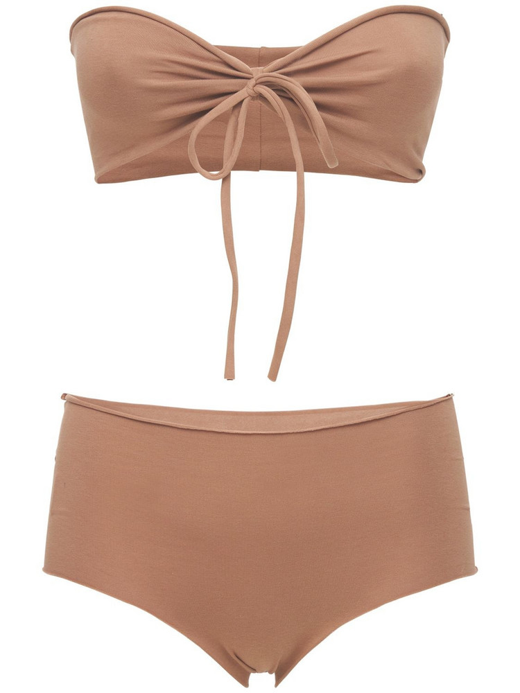 ISOLE & VULCANI Seamless Cotton Jersey Bikini in beige