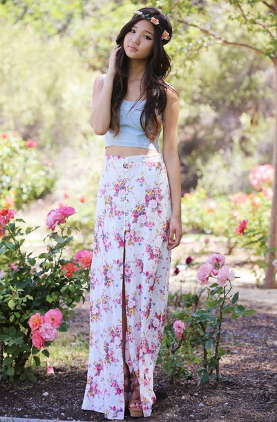 a flower child top shoes jewels skirt