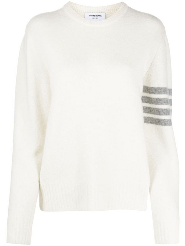 Thom Browne cashmere 4-Bar stripe jumper in white