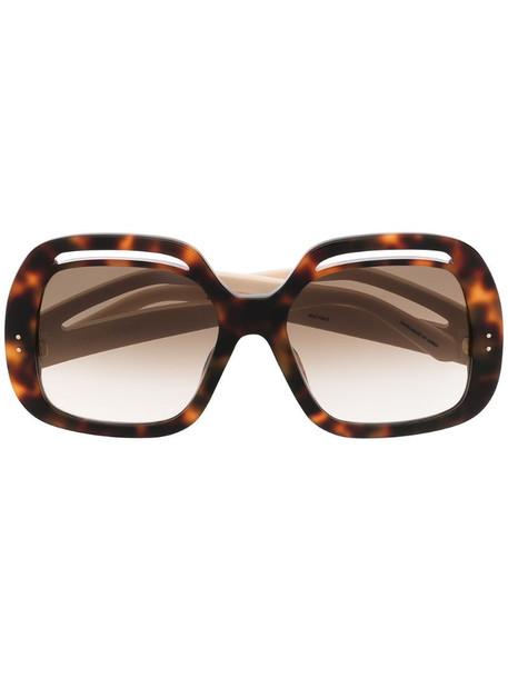 Linda Farrow Renata oversized frame sunglasses in brown