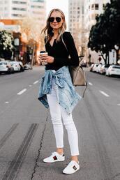 fashionjackson,blogger,jeans,top,jacket,shoes,sunglasses,bag