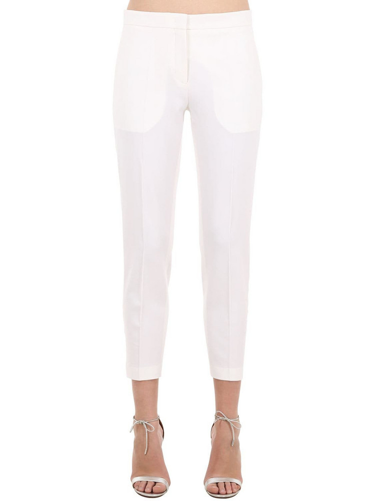 MARCO DE VINCENZO Satin Side Band Cady Pants in ivory