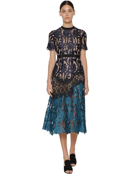 SELF-PORTRAIT Prairie Flower Lace Midi Dress in blue