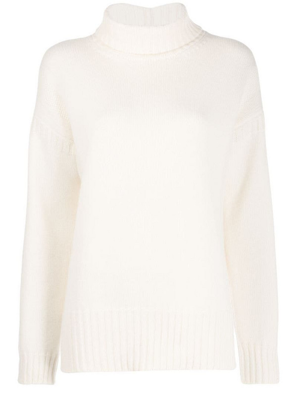 Pringle of Scotland Guernsey-knit roll-neck sweater in white