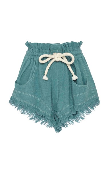 Isabel Marant Talapiz High-Rise Frayed Silk Shorts Size: 32 in blue