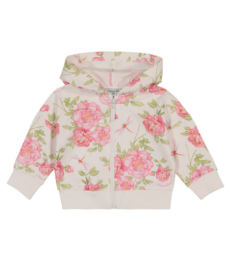 Monnalisa Baby floral stretch-cotton hoodie in white