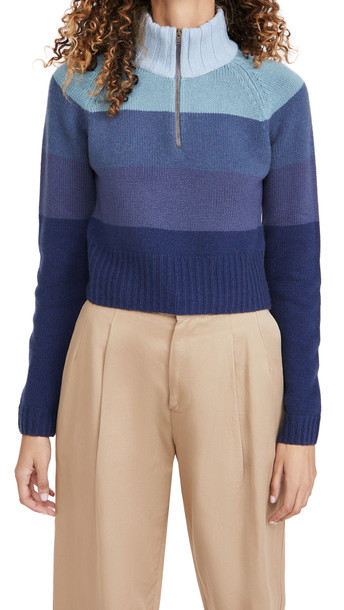 By any Other Name Cropped Zip Pullover in blue
