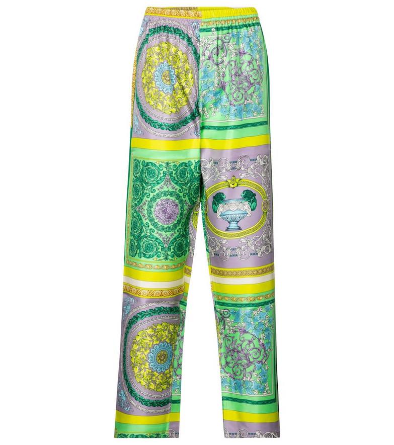 Versace Barocco Mosaic silk twill pajama pants
