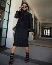 jacket,denim jacket,leather,black jacket,black sandals,black skirt,denim skirt,midi skirt,louis vuitton bag,black turtleneck top