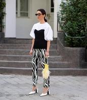 pants,skinny pants,zebra print,mules,corset top,white blouse,bag
