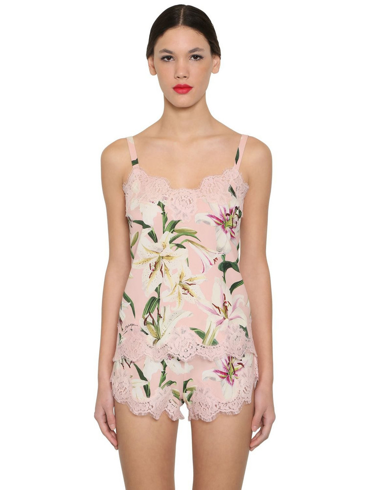 DOLCE & GABBANA Stretch Charmeuse Lace Top in pink / multi