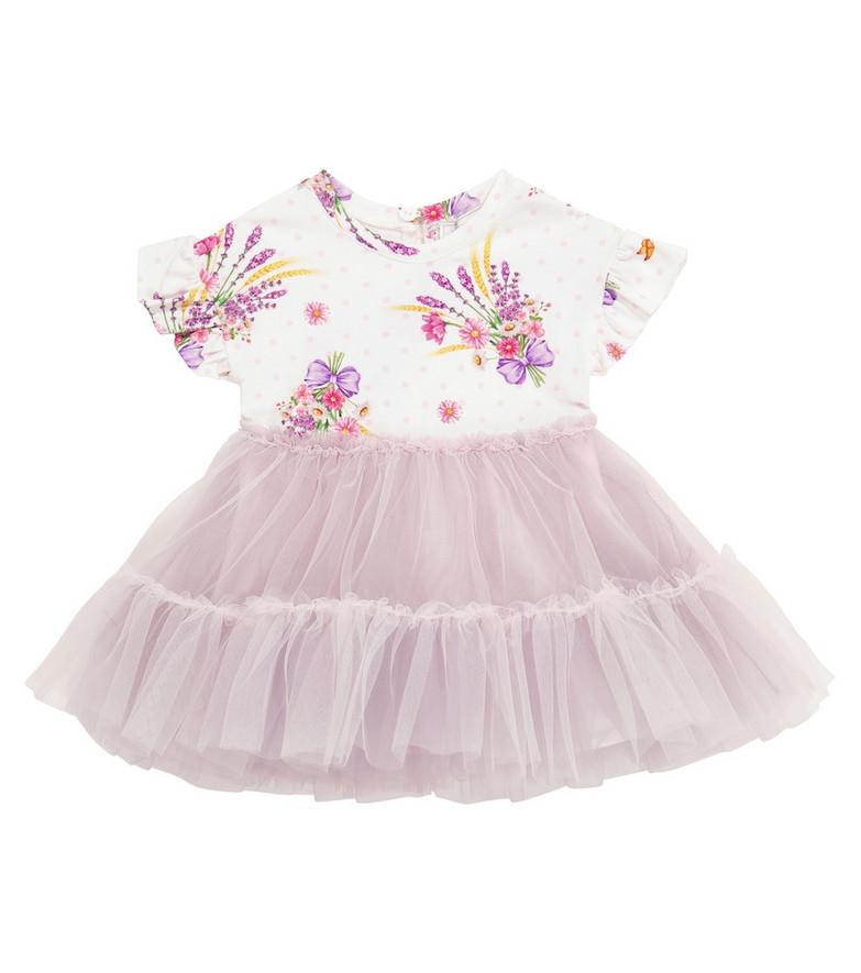 Monnalisa Baby printed dress in white