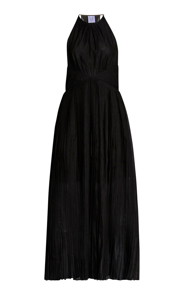 Thierry Colson Vanessa Pleated Cotton-Silk Maxi Halter Dress in black