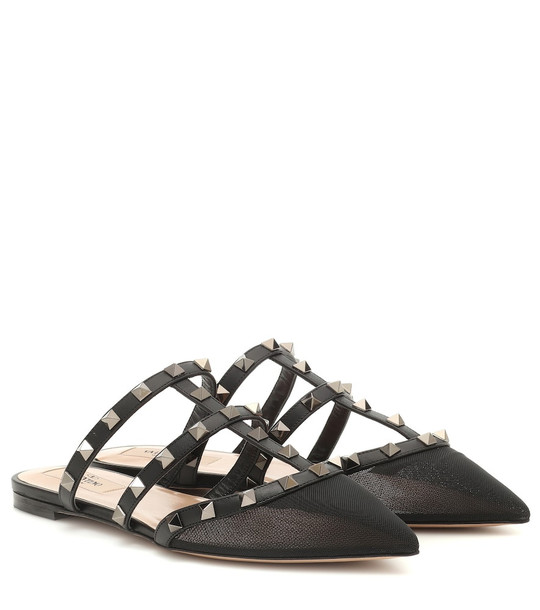 Valentino Garavani leather and mesh slippers in black