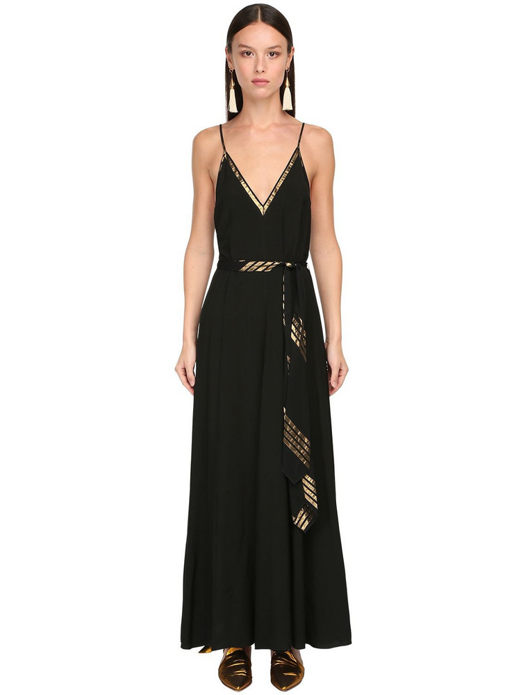 FORTE FORTE Poplin & Lurex Long Dress in black / gold