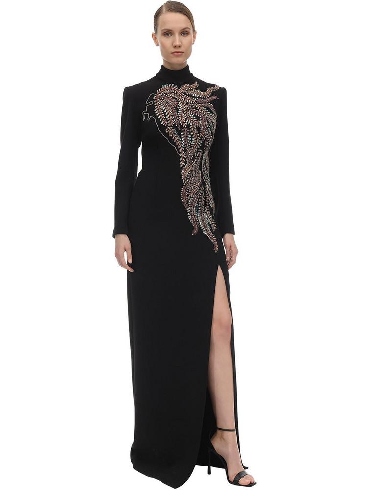 SANDRA MANSOUR Long Embellished Crepe Dress in black