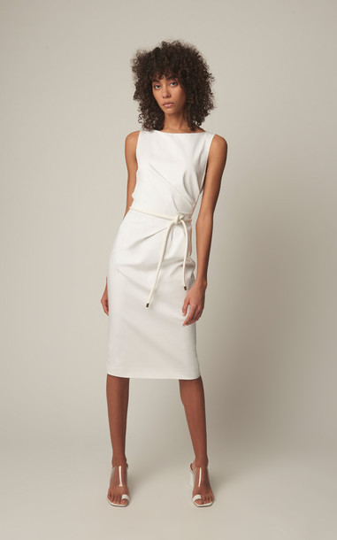 Max Mara Fitted Cotton-Blend Midi Sheath Dress Size: 6 in white