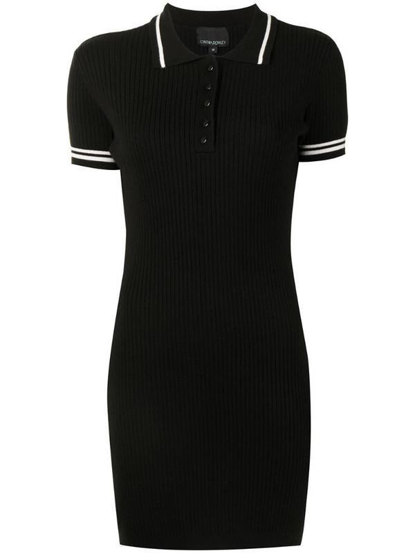 Cynthia Rowley short-sleeve polo dress in black