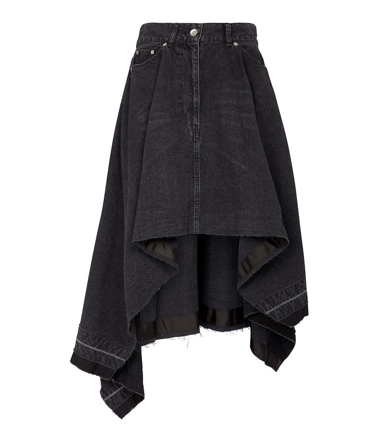 Sacai Asymmetrical denim skirt in black