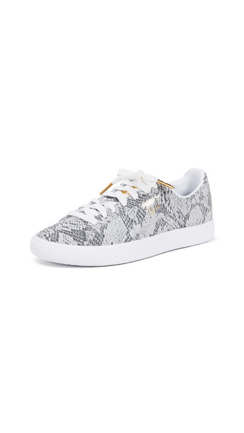 PUMA Clyde AO Reptile Sneakers in black / gold / white