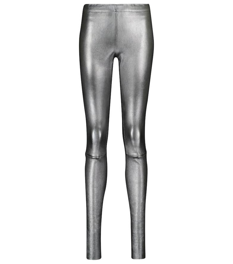 STOULS Carolyn metallic leather leggings in silver