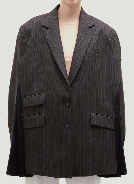 Maison Margiela Oversized Pinstriped Blazer in Grey size IT - 40