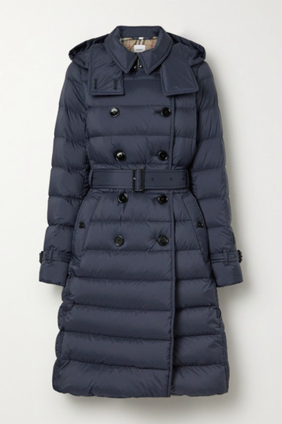 Burberry - Belted Double-breasted Quilted Shell Down Coat - Navy